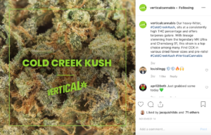 vertical cannabis cold creek kush nominated in the adman awards for best social media